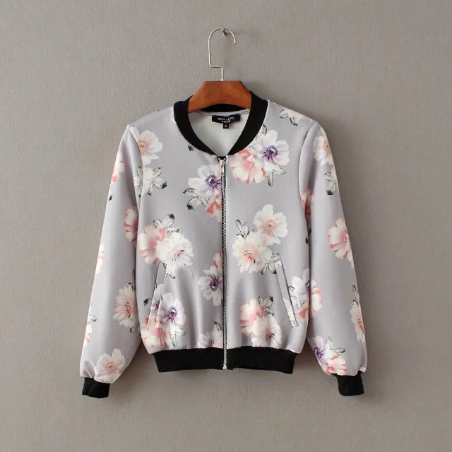 2016 autumn collection women's jacket high quality flowers print short style jacket for women sales before 05th Sept.(China (Mainland))