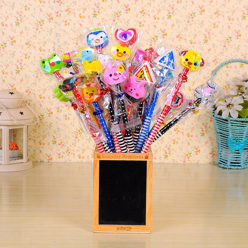 24pcs / set student prize wholesale / school supplies pupils prizes HB pencil with eraser on a pencil suit children<br><br>Aliexpress