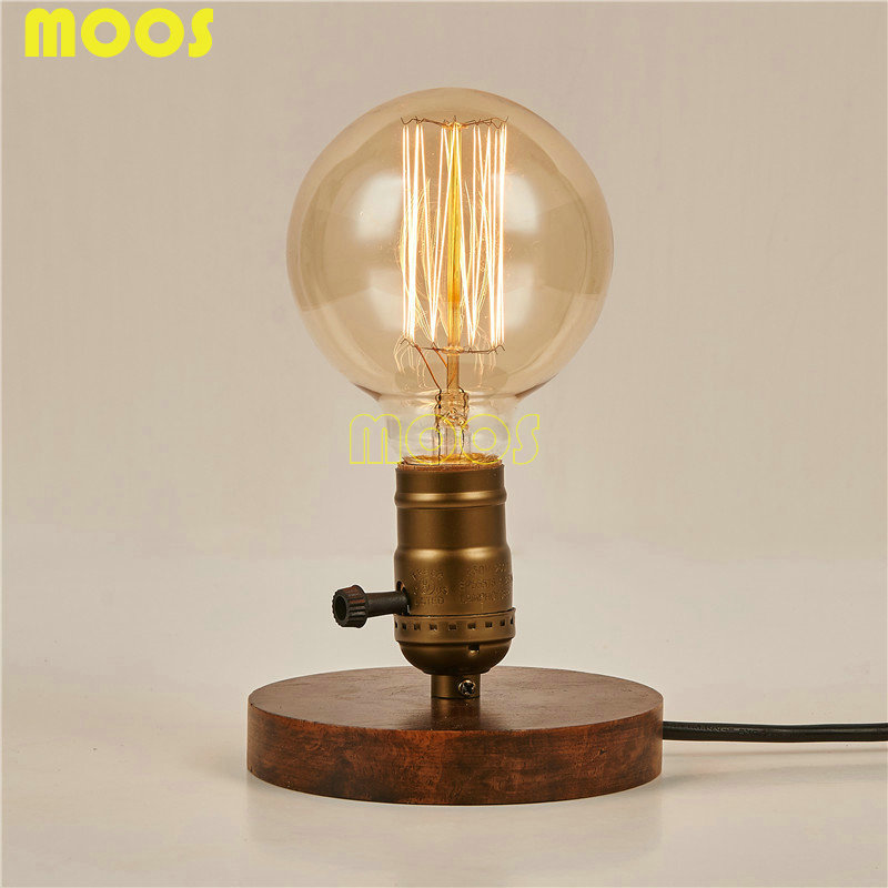 Personality Vintage Loft American solid wood table lamp Copper Desk Lamp with Edison Bulb reminisced bedroom bedside lamp(China (Mainland))
