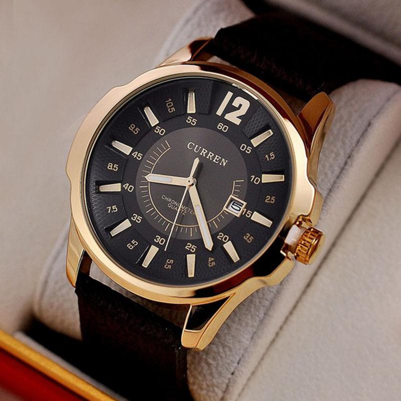 2015 Hot Casual CURREN 8123 Men Watch Brand Luxury Wristwatches Men Auto Date Military Leather Sports