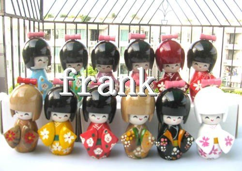 Oriental Japanese Kokeshi dolls wooden with Hair 12pcs/ lots