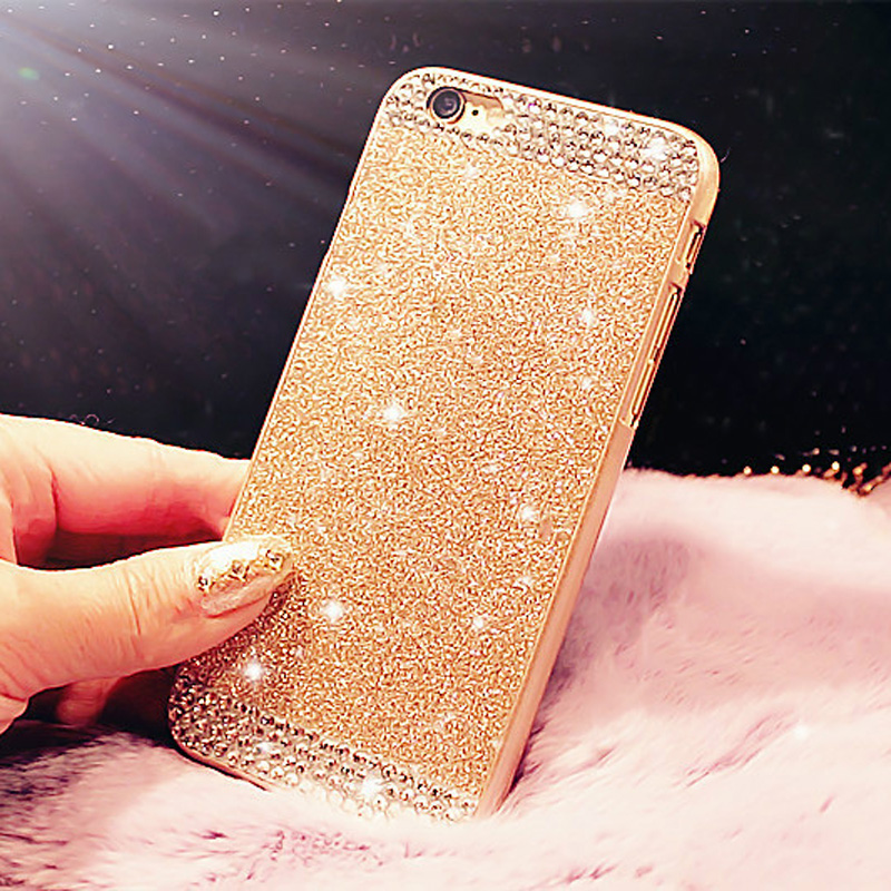 Hot ! Glitter powder Rhinestone bling Hard phone case for iphone 5 5s 6 6s 6s 6Plus 6sPlus diamond crystal back cover Sparkle(China (Mainland))
