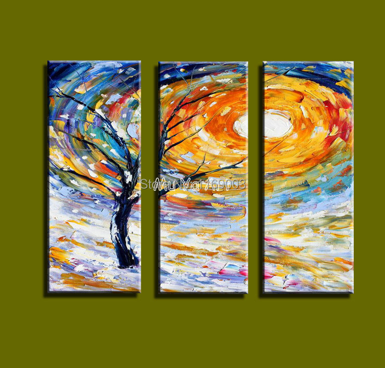 Abstract modern 3 panel canvas wall art colorful picture for 3 panel painting