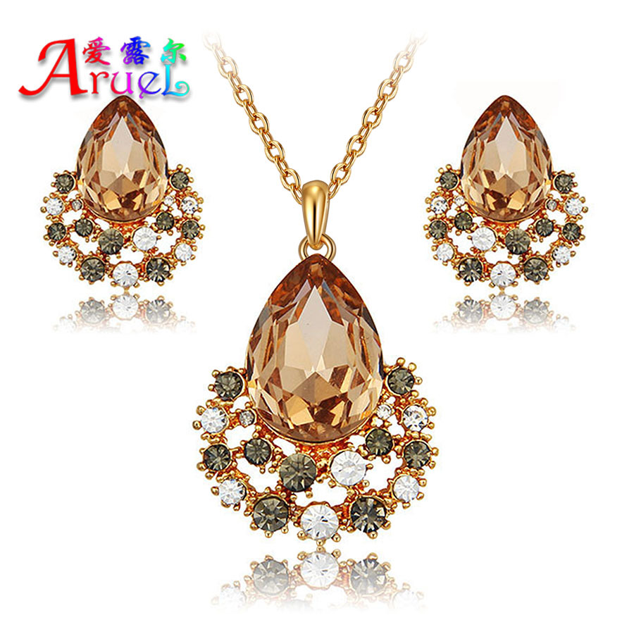 jewelry sets joias ouro 18k gold plated for women fashion austrian wedding bridal crystal wholesale rhinestone earings necklace(China (Mainland))