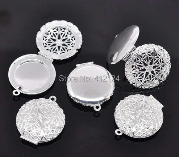 2Silver Plated Photo Locket Frame Hollow Charms Pendants Jewelry Component 32x27mm - Beads House store