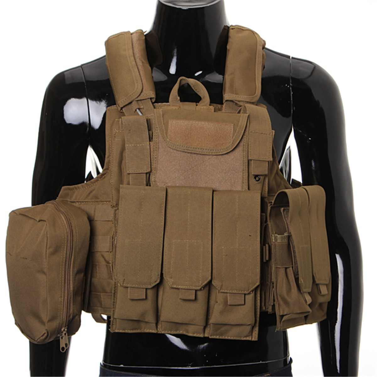 Фотография Tactical Vest Airsoft Paintball Combat Vest W/Magazine Pouch+Utility Bag Releasable Armor Carrier Vest 7colors option