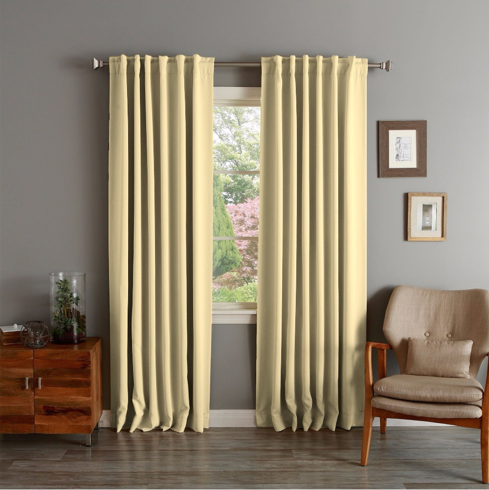 One Piece Flat Window Curtains Solid Blackout Thermal Insulated Yellow Curtain Panel For Living Room Cortina Mariposa(China (Mainland))