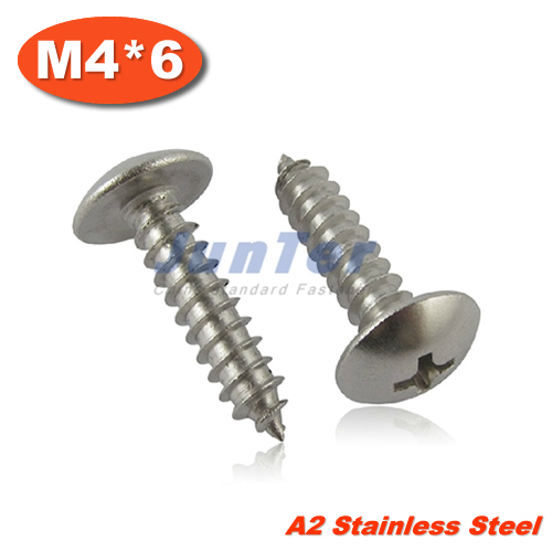 100pcs/lot M4*6 Stainless Steel A2 Phillips Truss Head (Cross Recessed Mushroom Head) Self Tapping Screws<br><br>Aliexpress