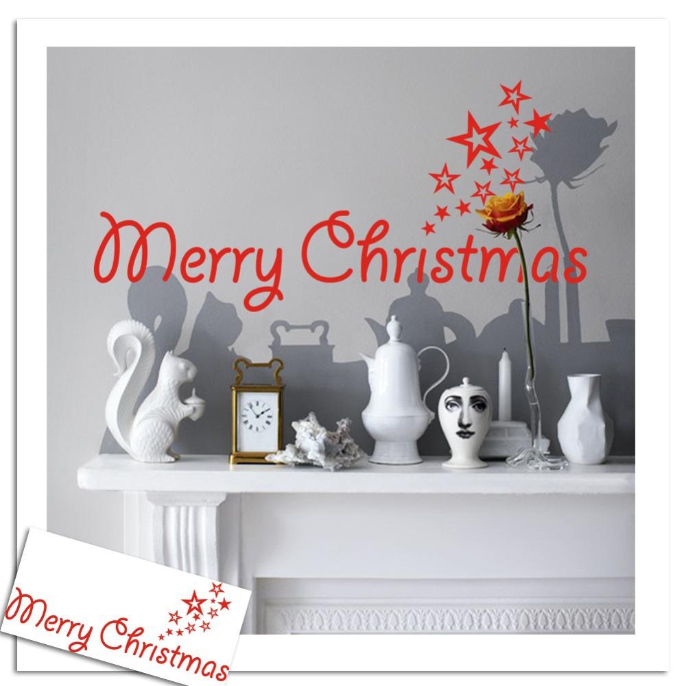 Merry Christmas Decal Vinyl Decal words Door Decoration Holiday Christmas Seasonal Housewares-xmas08(China (Mainland))