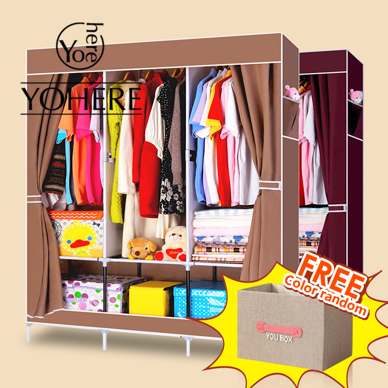 YoHere Non-woven folding fabric portable closet clothes bedroom furniture large wardrobe present is storage box 2015 cabinet(China (Mainland))