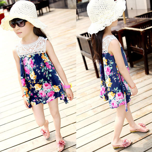 Free shipping & Drop shippingKids Child Toddler Baby Girls Sleeveless Lace Dress Colorful Floral Princess Dress 2-7 Years
