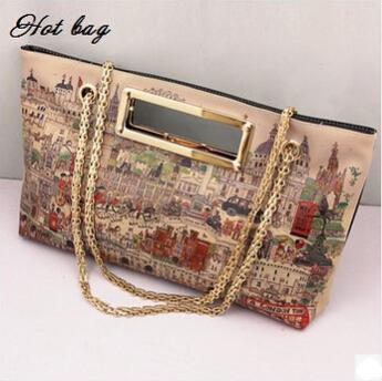 New 2015 Women Leather Messenger Bags City Graffiti Handbag Lady Fashion Wild Handbags Printing Chain Desigual