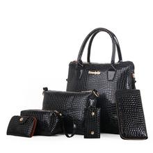 2016 Europe women bag ladies fashion package casual handbag six pieces set for Crocodile handbag cross-body bag big kit(China (Mainland))