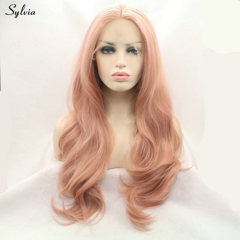 rose gold synthetic lace front wig (3)
