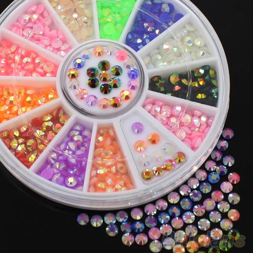 Colorido acrílico fluorescente 3D Glitters DIY Nail Art decalque adesivos de Stips 6BEQ