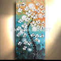 Hand Painted Flowers Daisies Landscape Modern Palette Knife thick oil painting Canvas Wall Decor Living Room