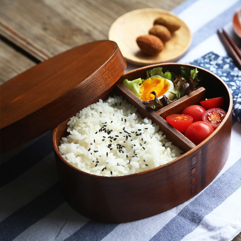 japanese style wooden lunchbox creative oval bento box. Black Bedroom Furniture Sets. Home Design Ideas