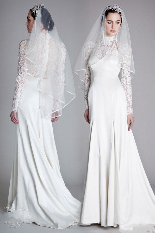 Sheath Wedding Dresses London : Muslim wedding dresses sheath high neck long sleeves gowns