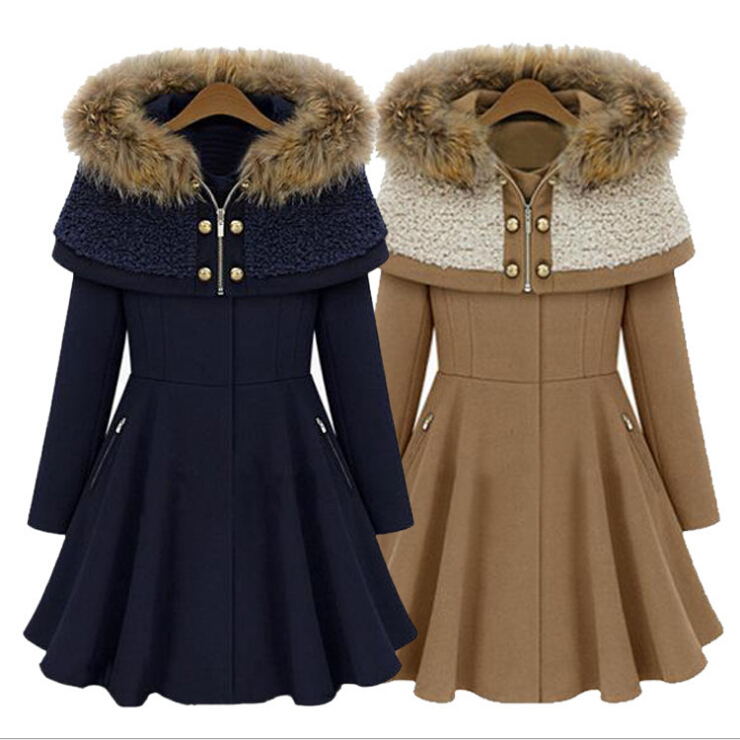 2016 Hight Quality Winter Hooded Coat Women Warm Khaki Wool Cloak Coat WomenS Fashion Outerwear Solid Thick Winter Jacket A174Одежда и ак�е��уары<br><br><br>Aliexpress