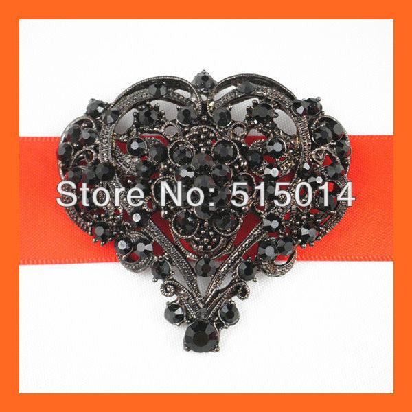 Free Shipping!100pcs/lot 55*55mm Heart Black Vintage Rhinestone Brooch Pins ,Wedding Bridal Pin,Invitation Brooch
