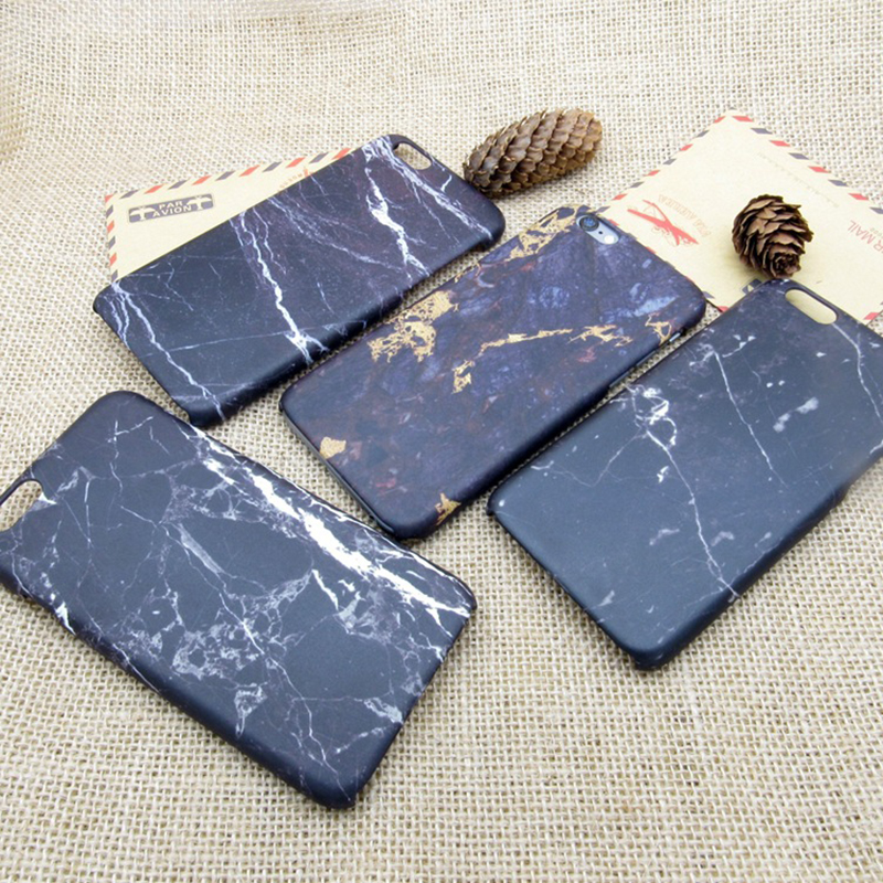 New original black marble printing all-inclusive border fell slim hard plastic Phone bag case for iPhone 5S 6 6S Plus(China (Mainland))