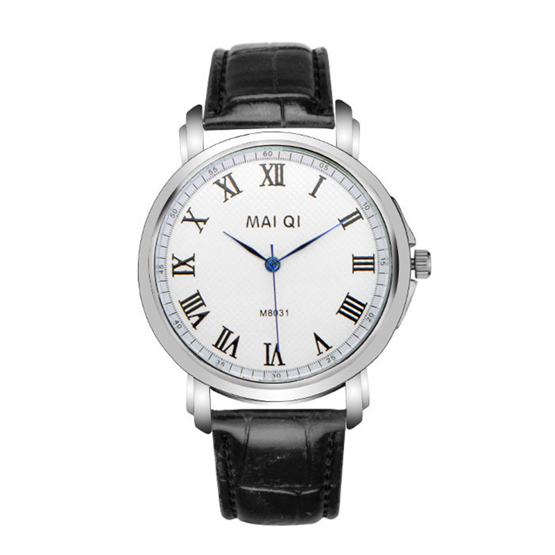 Parity sales new luxury watch brand wrist Men's leather business Ancient Roman numerals three stitches silver dial - HY GEM store