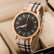 2015 Summer new breathe sweet Plaid Ribbon minimalist chassis  ladies wristwatch women watch quartz Dress Watch Leather Strap