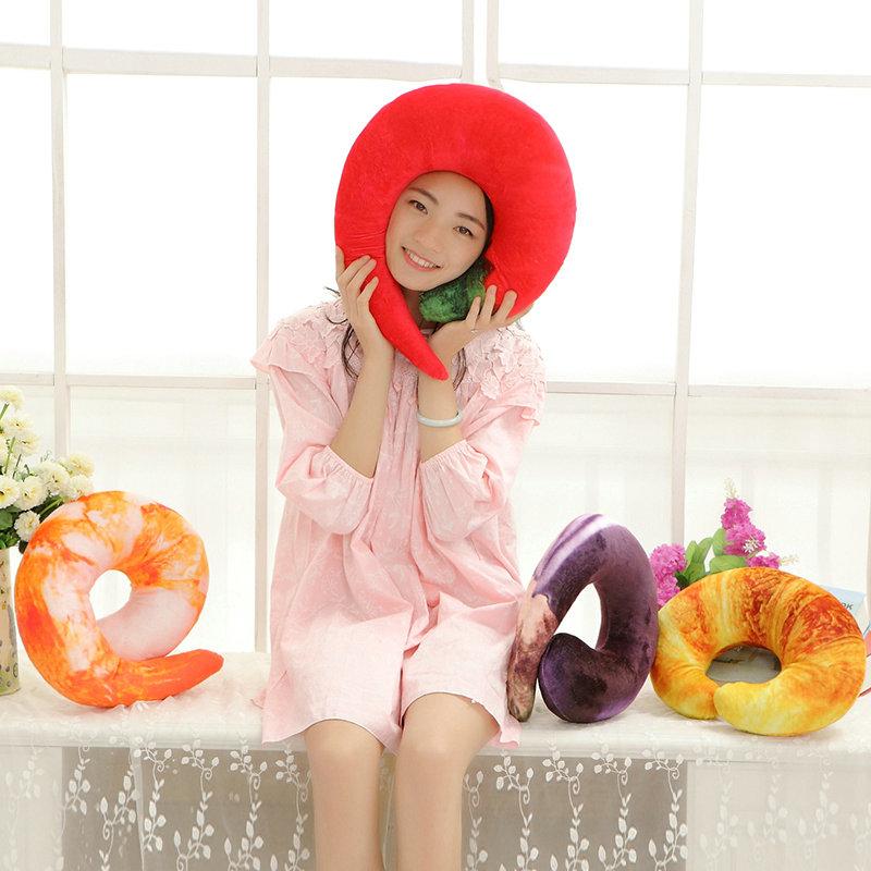 35cm kawaii Chillies plush toys cartoon shrimp meat pillow cloth doll stuffed animals toys drop shipping(China (Mainland))