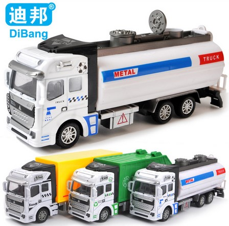 2016 Big Size Alloy Pull Back Toy Car Children's Toys Loading Garbage Truck/Sprinkler car/Express car 1:48 Metal model toy Gift(China (Mainland))