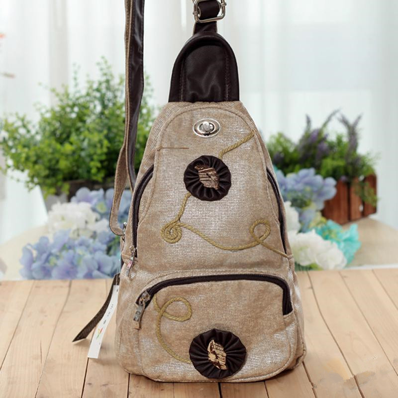 Free Shipping !Hot-sale Top-quality Appliques type canvas Bag Lady outdoor chest pack nation style chest bag art type chest pack(China (Mainland))