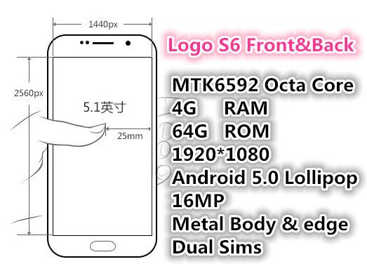 "2015 New Logo S6 4G LTE Phone 4GB RAM 64GB ROM Octa Core 5.1"" MTK6592 Android 5.0 1920*1080 16MP s6 edge Metal Body Mobile phone(China (Mainland))"