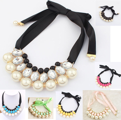 2013 New Bohemia Fashion Multilayer Simulated Pearl Choker Necklace for Lady Pearl Pendant with Crystal Rhinestone(China (Mainland))