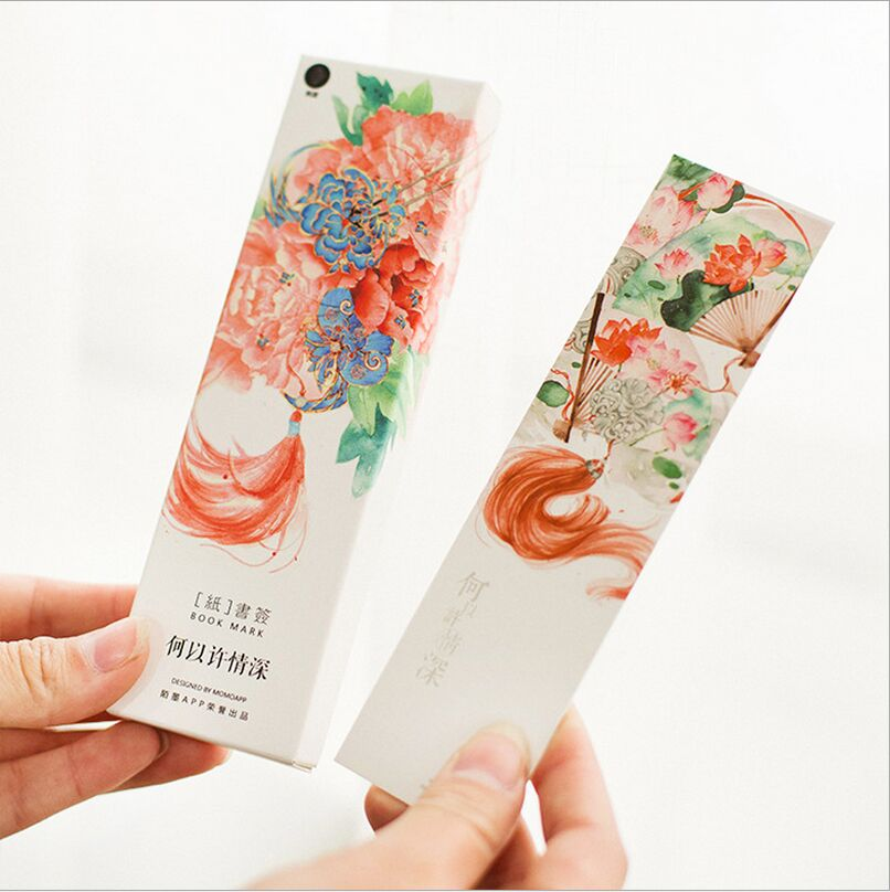 30Pcs/Pack Hand Painting Blossoming Flowers Plants Scene Bookmark Paper Cartoon Film Lable Bookmark Writing Card Gift Stationery(China (Mainland))