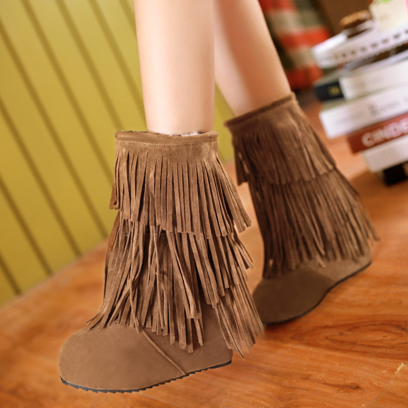 arrive sexy boots Flock women Round Toe snow boots ladies Noble and elegant Martin Simple wedges Fringed boots <br>