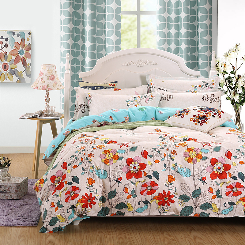 Promotion Reactive Printing BEDDING 4pcs Bedding Set duvet cover set queen king size QUILT COVER SET(China (Mainland))