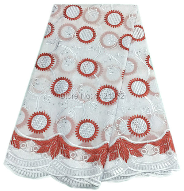 Free shipping by DHL China supplier New arrival cotton african swiss voile lace high quality whit+red with stones for dress(China (Mainland))