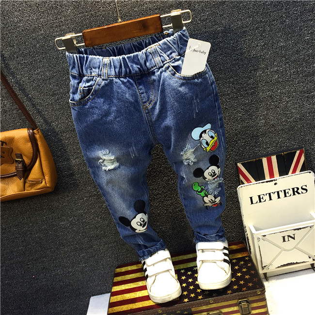 2 8Yrs Children Pants Girls Jeans Baby Boy Girl Cartoon Mouse Jeans Trousers Fashion Children ...