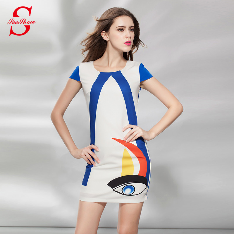 European Fashion 2015 Summer Printed Eye Work Pencil Dresses Ladies Short Sleeve Women Bodycon Dress Vestido de festa S495 - SOOSHOW store