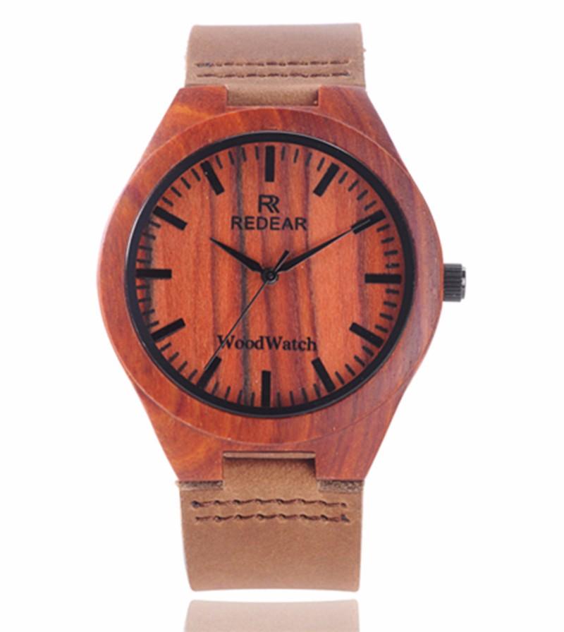 2016 HOT! бамбук Деревянный Мужская Мода Наручные Часы ремень Из Натуральной Кожи Аналоговый Дисплей Кварцевые Случайные Часы Relogio Masculino