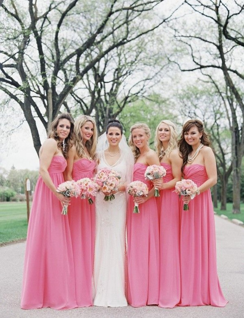 Pink And Silver Bridesmaid Dresses