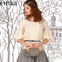 Artka Women's Summer Elegant Solid Shirt Boat Neckline Three Quarter Lantern Sleeve Patchwork Blouse With Ruffles SA10550X(China (Mainland))