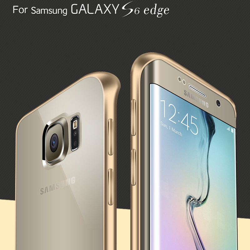 For Galaxy S6 Edge Metal Case Luxury Aluminum Frame + Arcylic Panel Case For Samsung Galaxy S6 Edge G9250 Clear Slim Phone Cover(China (Mainland))