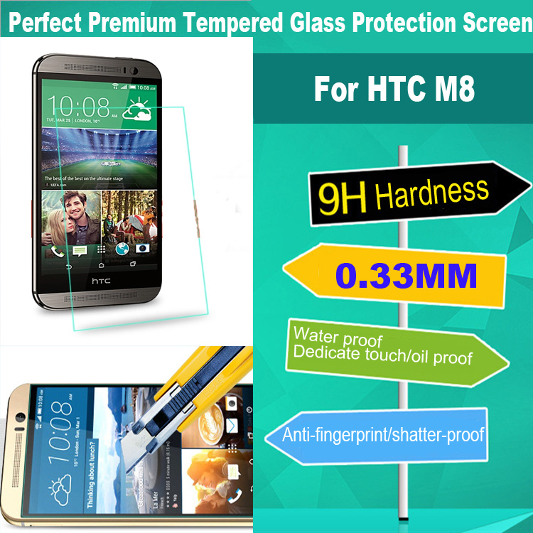 2015 200PCS Tempered Glass Screen Protector For HTC One M8 High Quality Protective Guard Film Wholesale For HTC M8(China (Mainland))