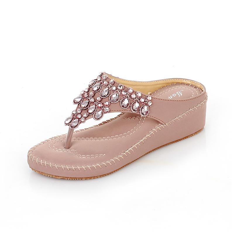 2016 new fashion women slippers high quality summer ladies wedges leather sandals rasteirinha feminina flip flops size 35-40