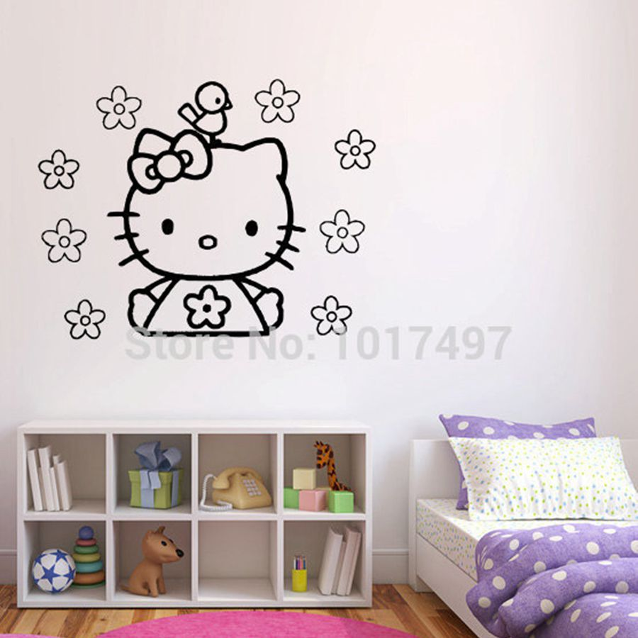 Free shipping vinyl wall stickers hello kitty ,cute hello kitty with flower and bird decal decor ,60x45cm k2073(China (Mainland))