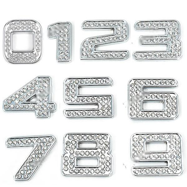 MiniOne Shining Cool 3D Rhinestone + Metal Number Shaped Universal Car Decoration Sticker RST-264231(China (Mainland))