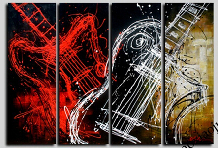 Photo Painting Canvas Painted Guitar Canvas Art