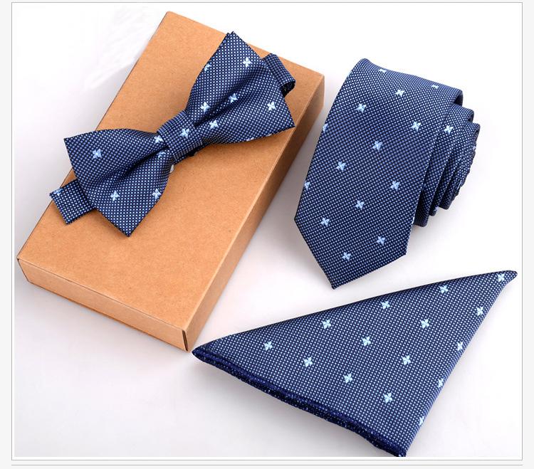 GUSLESON 3PCS Slim Tie Set Men Bow Tie and Handkerchief Bowtie Necktie Cravate Homme Noeud Papillon Man Corbatas Hombre Pajarita(China (Mainland))