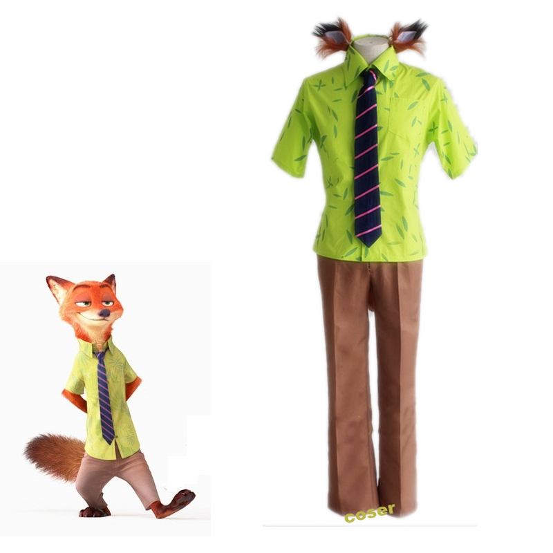 Coser Japanese Anime Zootopia Nick Wilde Role Cosplay Costumes Clothes Shirt & Pants & Tie Uniform Outfit(China (Mainland))