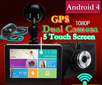 New full HD 1080P 5 inch Touch Screen Android 4.42 Car DVR GPS Navigation Wifi FM Parking Dash cam Dual camera + 8GB + free Maps